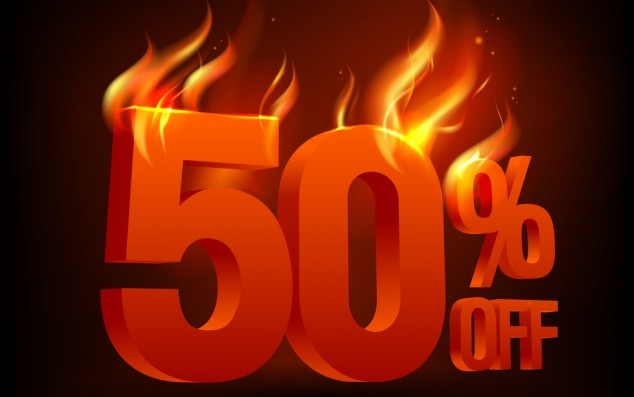 Fiery 50 percent off, sale background. Eps10 Vector.