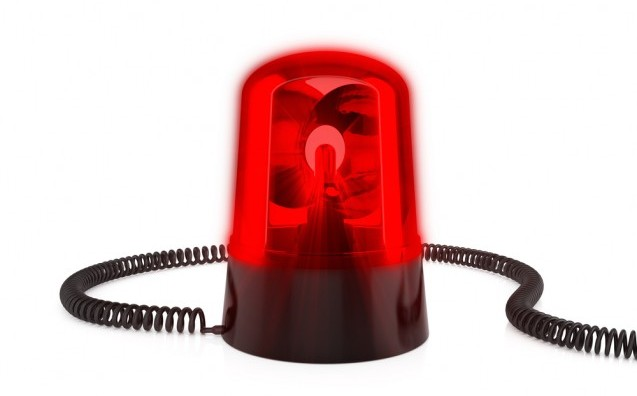 3d render of red flashing light on a white background