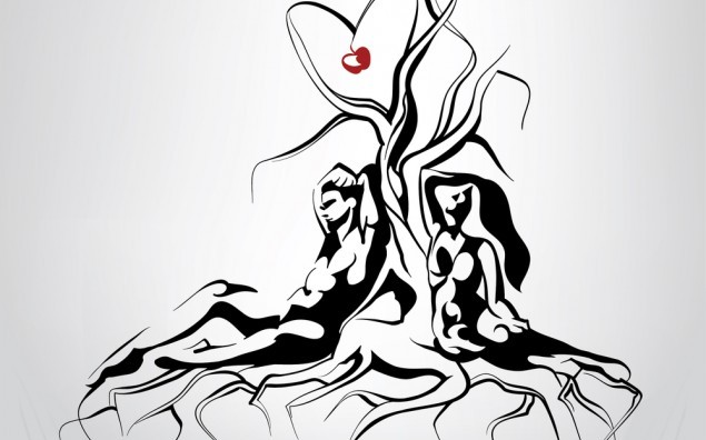 Silhouette of Adam and Eve sitting near a tree