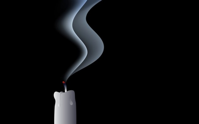 The candle on the draught - blown out candle - vector
