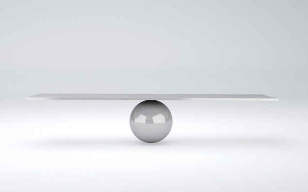 image of white seesaw. balance concept. 3d illustration. isolated white