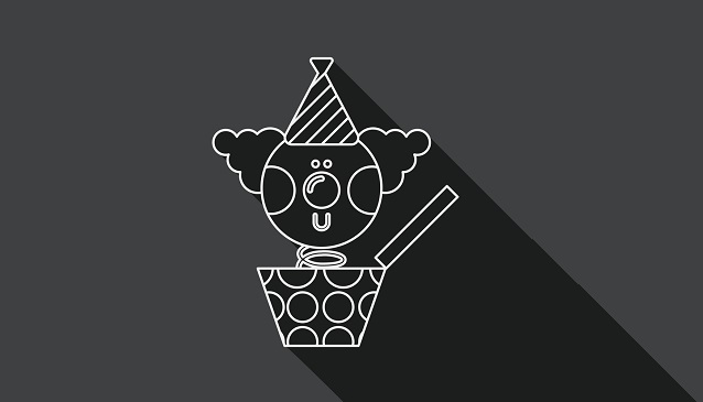 Jack in the box flat icon with long shadow, line icon