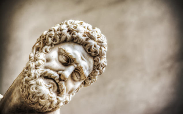 close up of Hercules face in Hercules and Nesso centaur statue in Florence, Italy