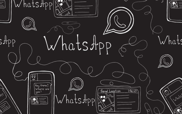 Vector doodle seamless pattern with whatsapp and smartphone. Mobile background.