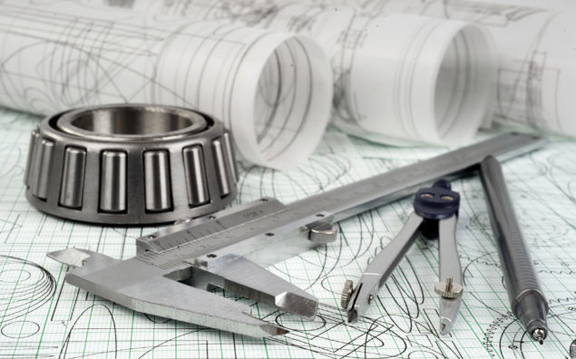 roller bearing, vernier callipers , compasses, technical pen and drawings