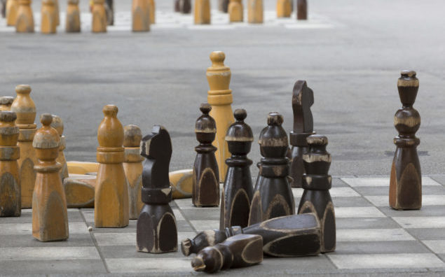 Chess pieces outside the Swiss Parliament in Bern