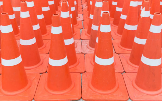 Many traffic cones in day light