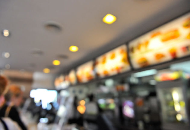 Fast food restaurant interior menu bokeh background