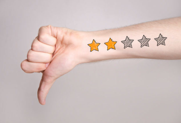 Thumb down with two star rating